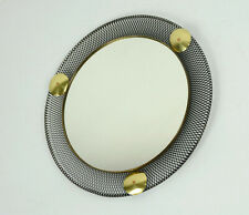 french 1950's mid century WALL MIRROR with wire mesh frame and brass