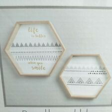 SET of 2 Patterned Hexagonal Shelves Wooden Wall mounted Shelves Storage & decor