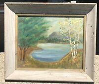 "1962 Original Oil Painting Leesburg OH Rustic Frame 12 1/2 X 10 1/2 X 1 3/4"""