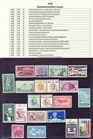 1958 Year Commemorative Postage Stamp Full Year Set Mint Never Hinged