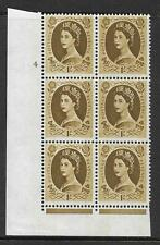 1/- Wilding Violet Phos 9.5mm cyl 4 No Dot perf type F (I/E) UNMOUNTED MINT