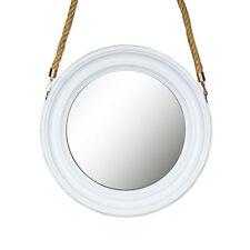 Miroir 40cm Rond Mural de Couloir Blanc avec Cordon Décoration Déco