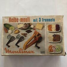 Vintage Mouli Grater Metal Hand Crank Triple Cheese Shredder Slicer USA