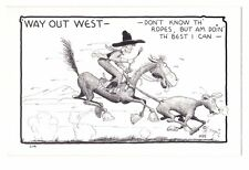 Comic postcard Hal Empie Cowboy horse Don't Know Th' Ropes reproduction card