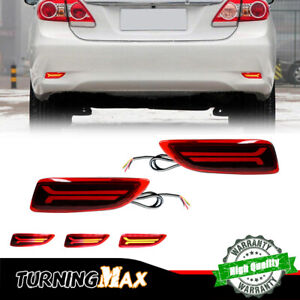Red LED Rear Reflector Tail Signal Lights For 11-13 Toyota Corolla Lexus CT200h
