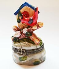 Cardinal Trinket Box with Baby Bird in House Hinged Ceramic