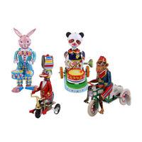 4x Vintage Colorful Windup Animal Acrobatics Model Clockwork Tin Toys Room Decor