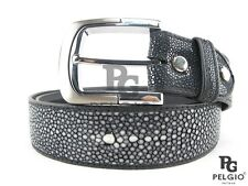 "PELGIO Real Genuine Polished Stingray Skin Leather Men's Belt 46"" Long Black"