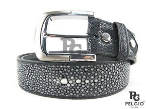 """PELGIO Genuine Polished Stingray Skin Leather Casual Soft Belt 46"""" Long Black"""
