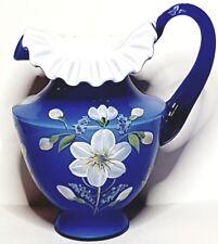 Fenton Cobalt Blue/White Pitcher H. Painted Floral Design Signed George Fenton