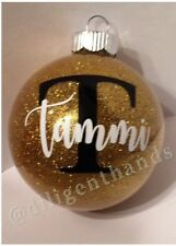 Handmade personalized glass Christmas  ornament. Custom Made for each customer.