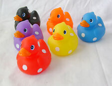 NEW 6 COLOURFUL FLOATING BATH RUBBER DUCKS SPOTTY PATTERN POLKA DOTS BOXED  sil