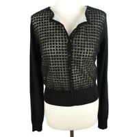Coast Size S 10 Black White Cut Out Cardigan Long Sleeve Fitted Womens