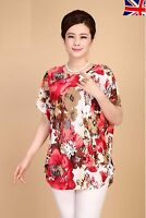 New Women Red Floral Printed Chiffon Top T Shirt Blouse Loose Short Sleeve UK