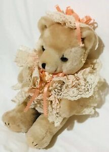 """PLUSH BEAR POSEABLE FANCY BEAUTIFUL LACE AND PEARLS BEIGE 11"""""""
