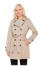 Liz Claiborne New York Double Breasted Trench Coat, Burlap, 3X , $97