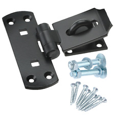 Vertical Locking Hasp Staple +FIXINGS HEAVY Garage Store Shed STRONG Gate BLACK