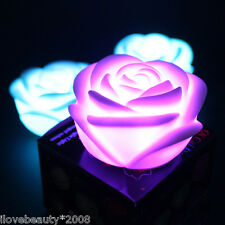 Romantic 7-colors Changing Rose Flower LED Night Light Decoration Candle Lamp