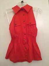 Rampage Button Down Halter Shirt Blouse Red Sz Large gold accents belted NWT