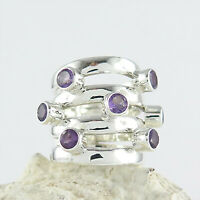 925 Sterling Silber Ring - Silberring mit Amethyst - Fingerring Damenring In94-7