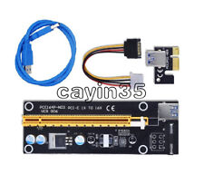 USB 3.0 PCI-E Express 1x To 16x Extender Riser Card Adapter Power Cable 50cm UK