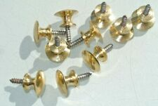 10 TINY 15mm screw fixing KNOBS pulls handles antique solid heavy brass drawer
