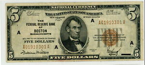 1929  $5 Five Dollar U.S. National Currency Note. FR1850-A. Boston Grade F/VF