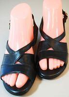 SAS Tripad Comfort Black Leather Sling Back Sandals Low Wedge Heel Women's 6 M