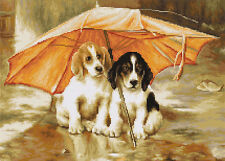 KIT Punto Croce coupel sotto un ombrello cani (2)