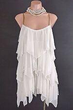 Free People Mini Dress S Ivory Spaghetti Strap Layered Ruffled Beach Summer*1008