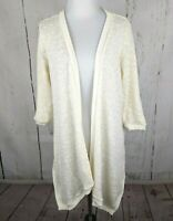 LC LAUREN CONRAD Open Front Cardigan Sweater Medium White Marled Open Weave