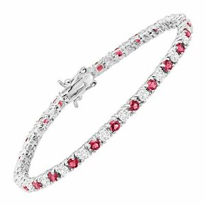 """Tennis Bracelet with Pink Glass & Cubic Zirconias in Rhodium-Plated Brass, 7.25"""""""