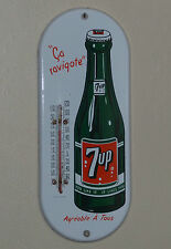Excellent 1950's Canadian 7up porcelain thermometer sign, seven-up FREE SHIP!
