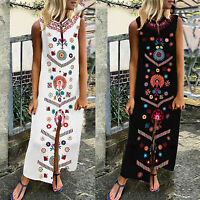Plus Size Womens Sleeveless Boho Print Dresses Summer Beach Maxi Dress Kaftan