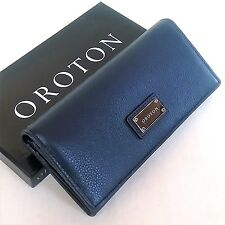 New OROTON Wallet Kiera Slim Clutch Purse Navy Leather Box RRP$245