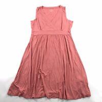 LL Bean Womens Summer Knit Dress Large LP Petite Sleeveless Peach Coral V Neck