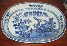 LARGE CHINESE 18TH CENTURY DISH HAND PAINTED  BLUE & WHITE riveted repair