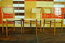 60er Retro Esszimmer Stuhl Designer Sessel Vintage Mid-Century Holz Vinyl 1/3
