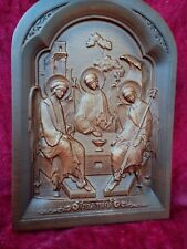 """Carved icon of """"Holy Trinity"""" Three angels gift hand made russian wood"""