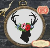 Wild Deer - Flowers - XStitch - Modern Cross stitch PDF Pattern - 033