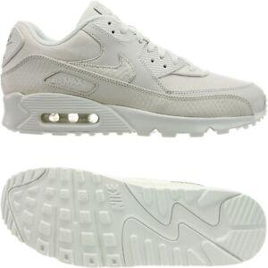 Nike Air Max 90 Premium altweiß Herren Leder Canvas Sneakers Freizeitschuhe NEU