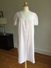 FLAWLESS VTG NIGHT FLOWERS New York Soft Pink Polycotton Nightgown Nighty SZ S