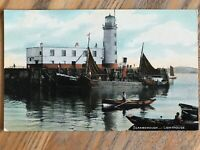 OLD VINTAGE 1908 RP POSTCARD SCARBOROUGH FISHING BOAT LIGHTHOUSE YORKSHIRE