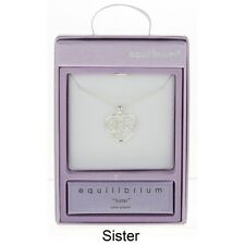 EQUILIBRIUM SILVER PLATED FILIGREE HEART NECKLACE SISTER SENTIMENT GIFT BOXED