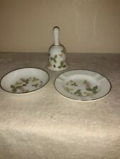 Lot Vintage Discontinued Wedgwood Wild Strawberry Table Bell Butter Dish Ashtray