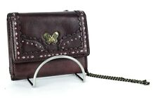 Authentic Anna Sui Butterfly Logo Brown Leather Mini / Tiny Wallet Purse