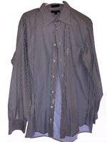Mens Faconnable Blue Black Striped Dress Shirt Large L