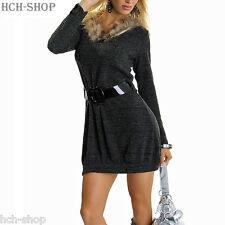 Longpullover Minikleid Strick Pullover Pulli Stiefelkleid dunkelgrau Gr. 34/36