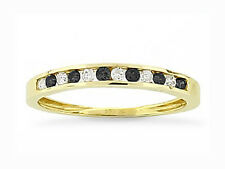 10K Yellow Gold Black & White Diamond Band Channel Set Diamond Ring .24ct