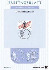BRD 2012: Gerhart Hauptmann! Ersttagsblatt der Nr. 2963! Gut erhalten!